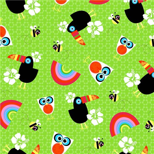 green-toucan-owl-bird-bee-rainbow-flower-fabric-by-studioe-sunshine-day-204952-2